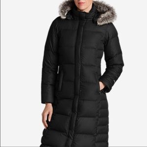 Eddie Bauer Down Black Faux Fur Lined Jacket Coat